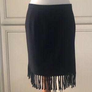 Anne Klein II skirt, Fringed, Black, wool, size 6